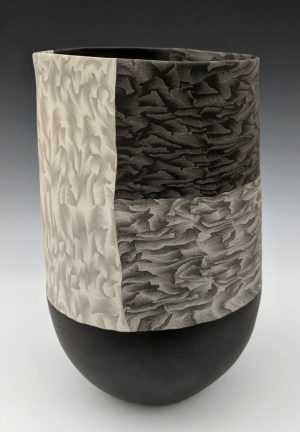 Thomas Hoadley - tall black and white nerikomi vase