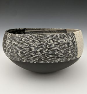 Thomas Hoadley - black and white nerikomi bowl