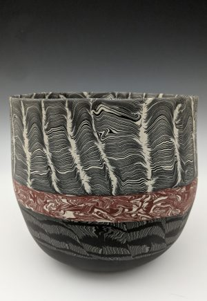 Thomas Hoadley - black, white and brown nerikomi bowl