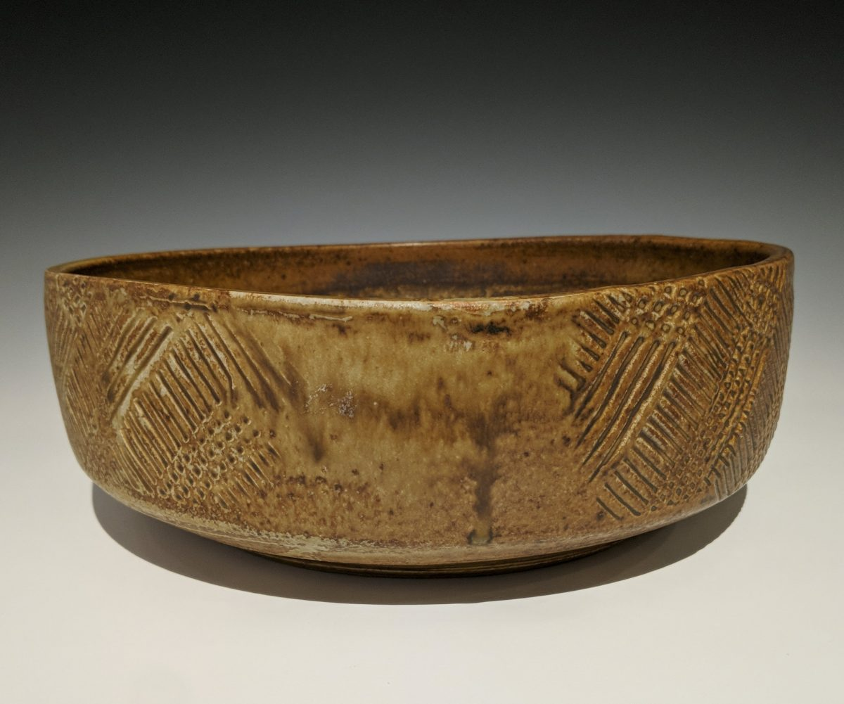 Warren MacKenzie - shallow bowl with paddled texture