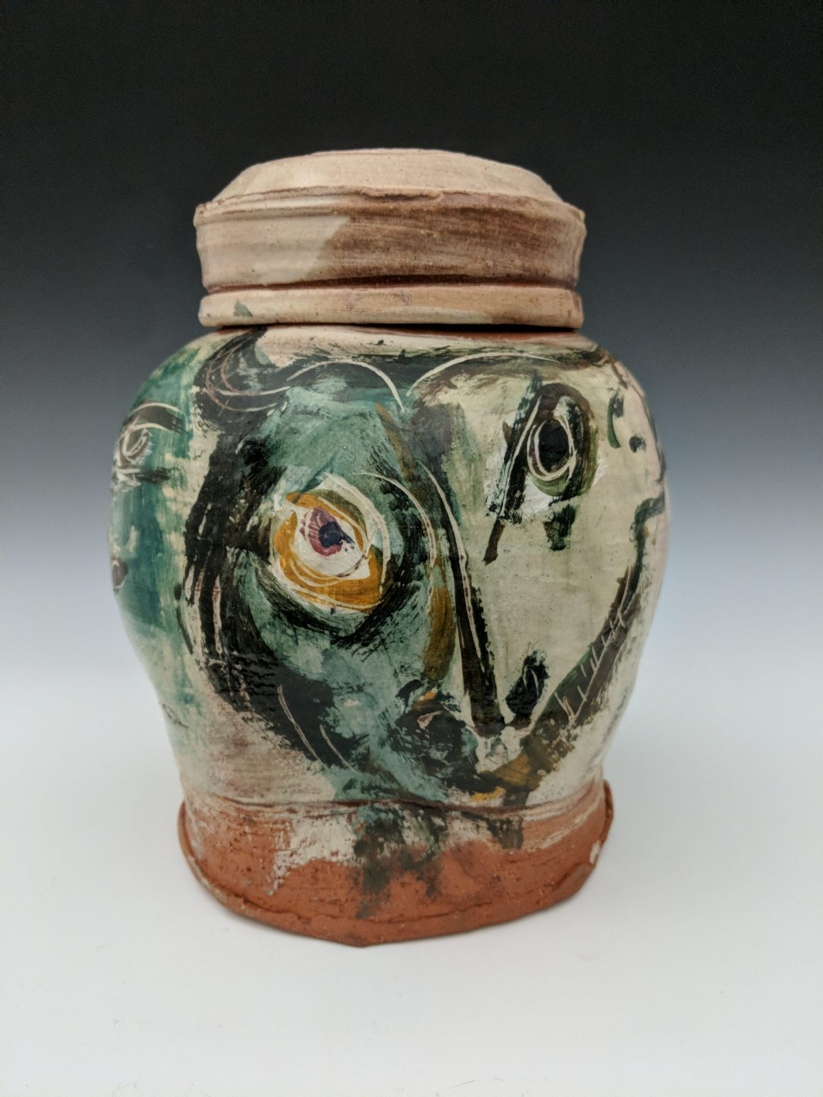 Ron Meyers - covered jar with face