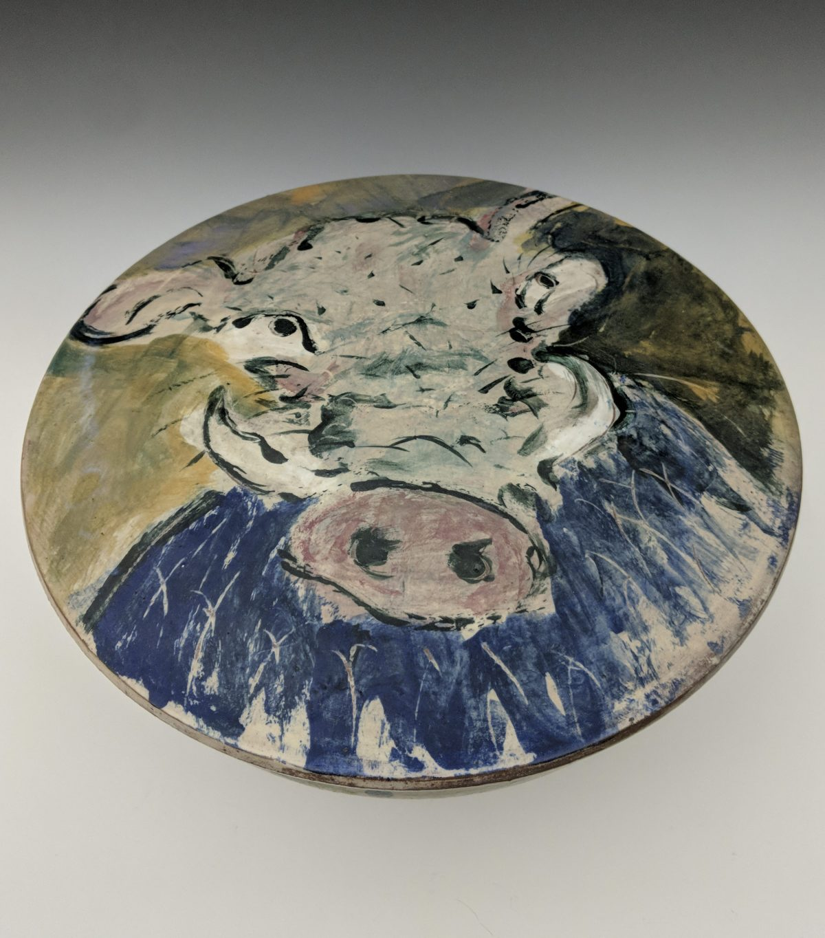 Ron Meyers - large covered dish with cow