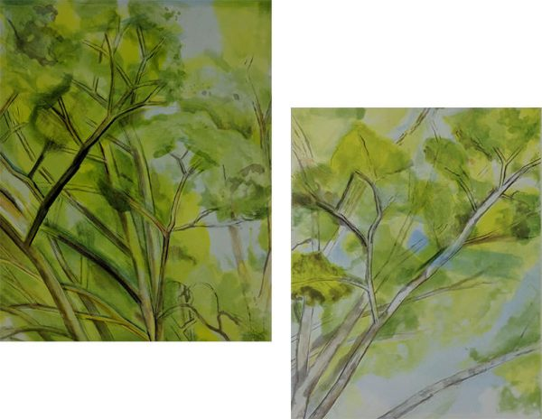Sylvia Mangold - The Pin Oak Diptych A;  The Pin Oak Diptych B