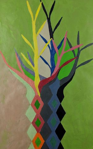 George T. Grant - Study for Metamorphasis (Pink Flower) and Mosaic Tree