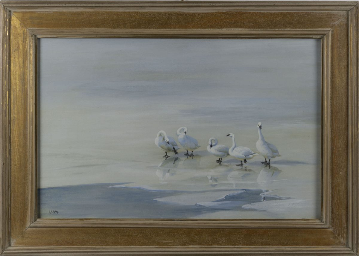 George Edward Lodge - Geese on frozen pond