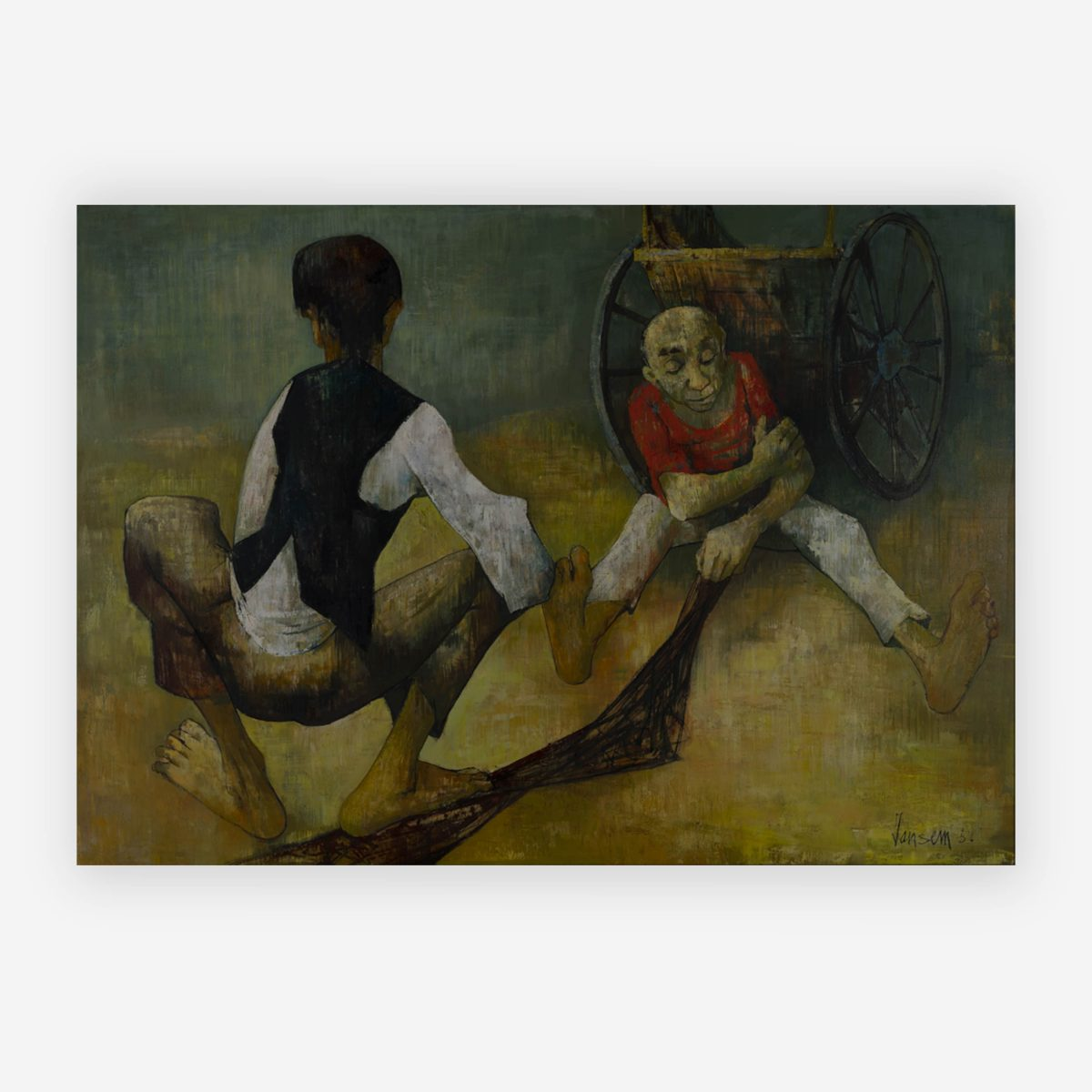 Jean Jansem - Two men and a cart