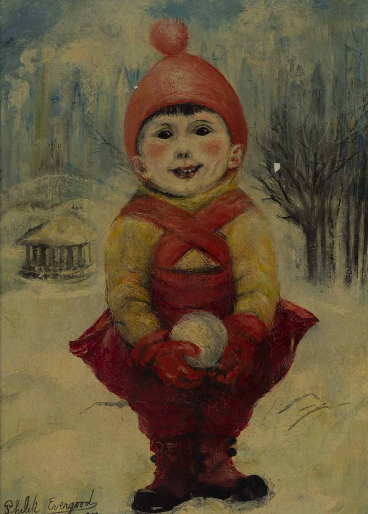 Philip Evergood - Child with a snowball