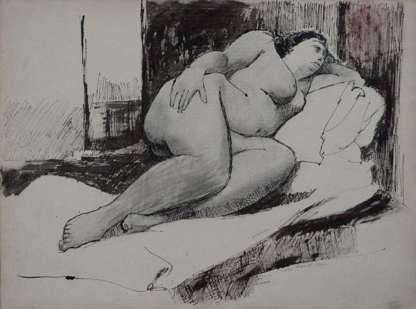 August Mosca - Sleeping Nude on Bed