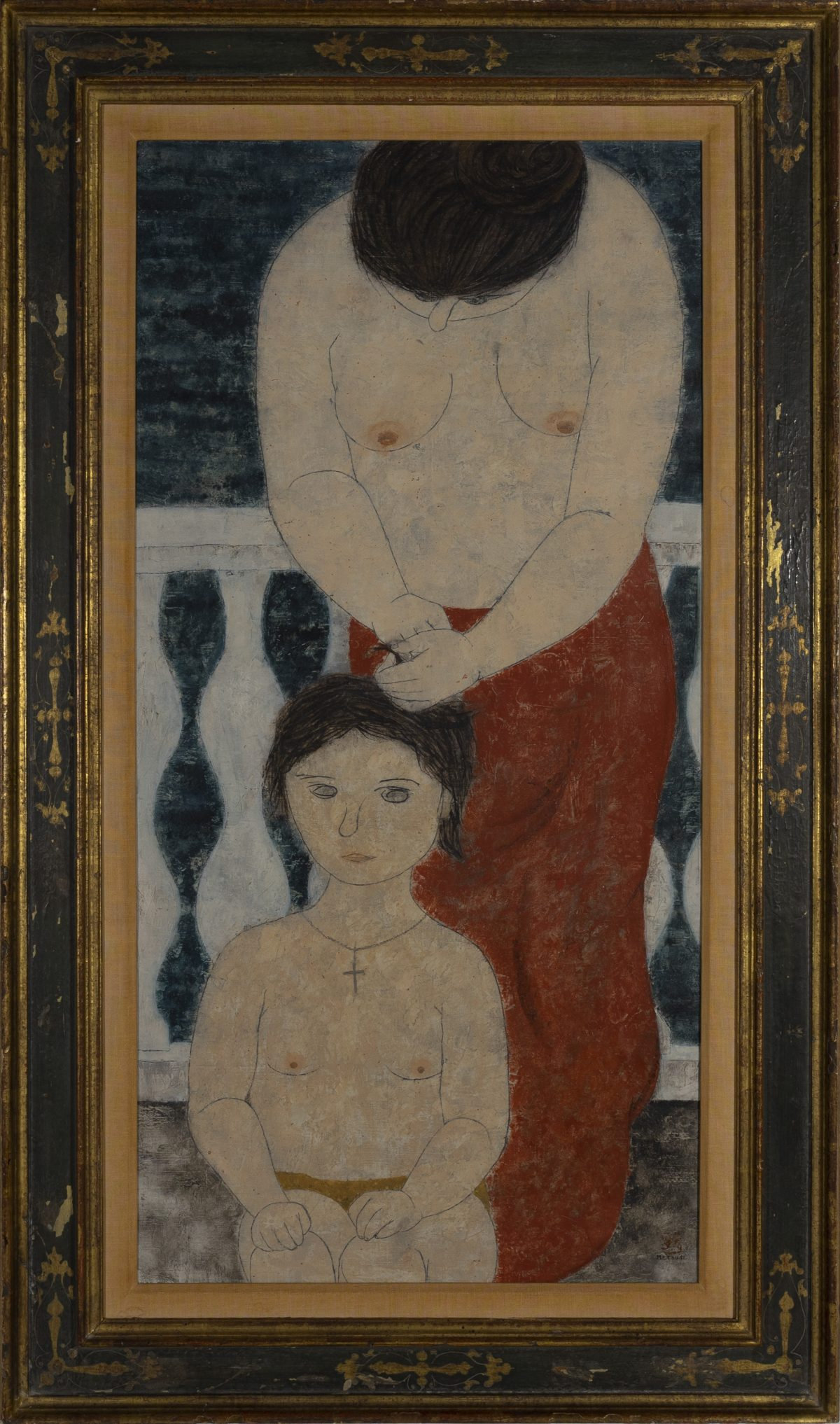 Fumiko Matsuda - Two Female figures, a young girl and an older woman,