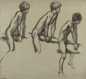 Ludwig von Hofmann - Three Studies of a nude boy on bar