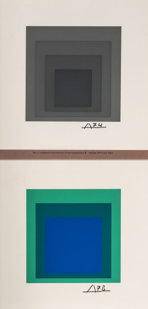 Josef Albers - Gray Instrumentation (upper) and Homage to the Square (lower)