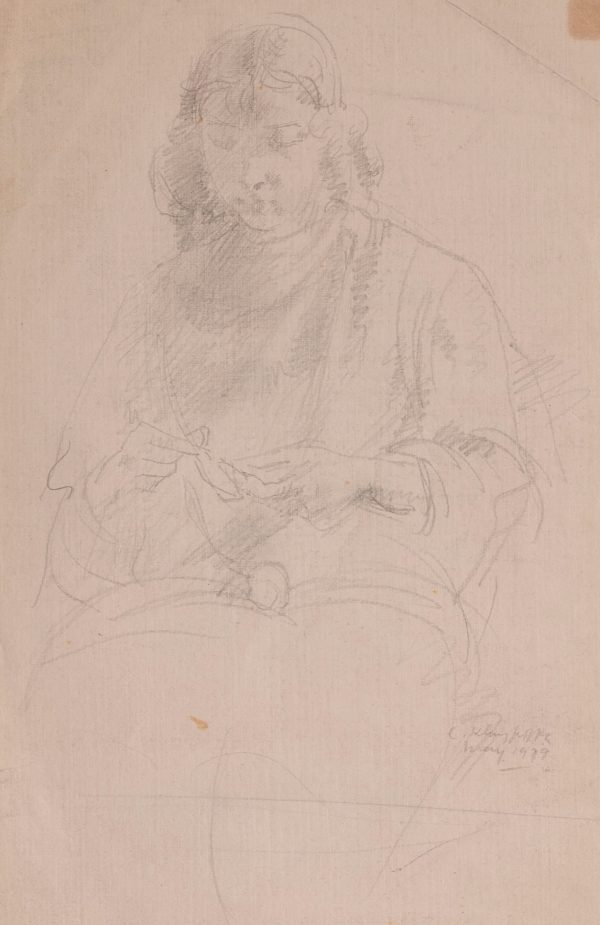 Clara Klinghoffer - two drawings (Young woman) (Seated woman)
