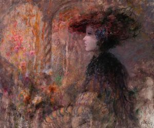 Giuseppe Giorgi - A Woman with Hat in Cloisters