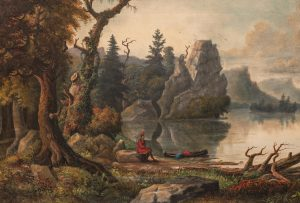Hudson River School - Native American seated by a lake