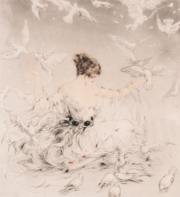 Louis Icart - Lady with Doves