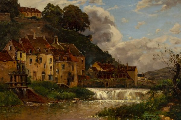 Maurice Lévis - Untitled (Village on river bank)