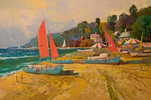 Ming Feng - Beached Boats Red Sails