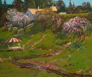 Ming Feng - Spring Blossoms by the Brook