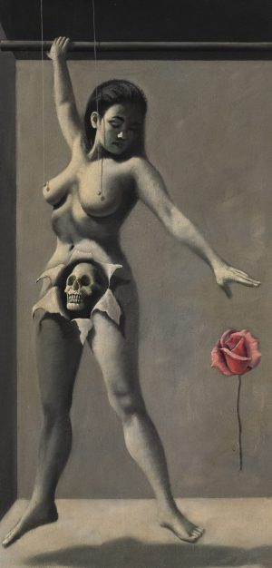 Neil Alfred Greene - Untitled (Suspended nude with skull and rose)
