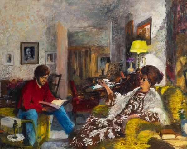Pierre Roussel - Interior with woman seated and young man reading