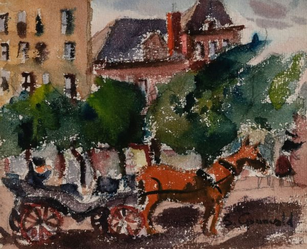 Samuel Grunvald - Three works: Harlem River Drive, The Subway,  Horse & Buggy 59th Street