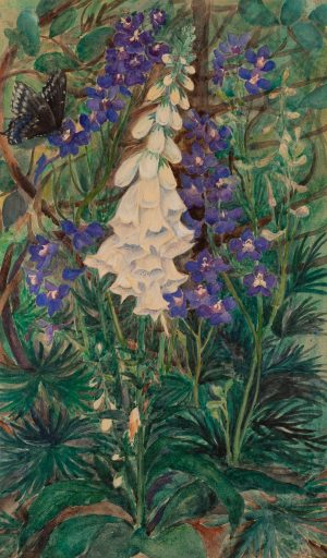 after John LaFarge  - Foxglove, Lupin and Swallowtail Butterfly