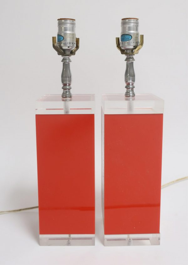 Pair of Mid Century Red & Clear Lucite Table Lamps