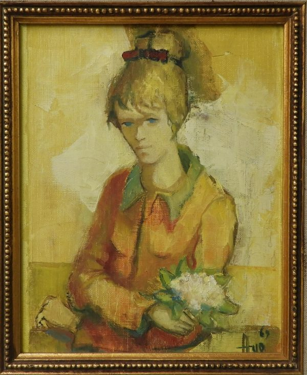 Robert Aillaud Ayo - Girl in Yellow with Flowers