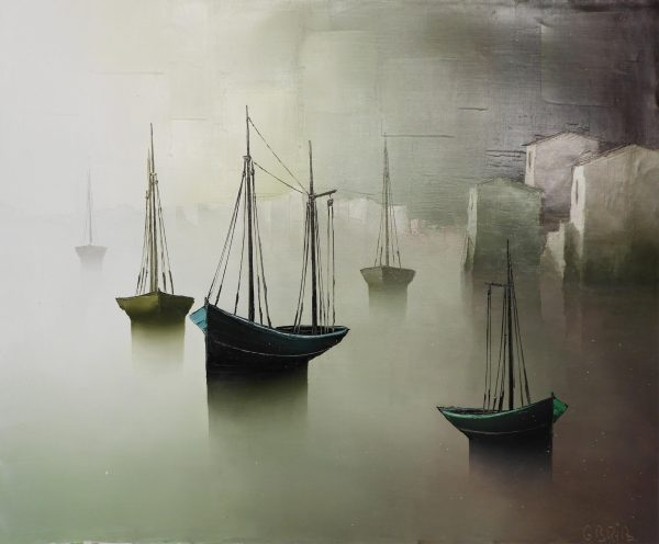 Gilbert Bria - Boats by the White Houses