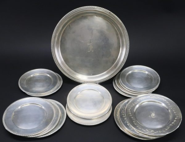 Group of 19 Sterling Silver Plates