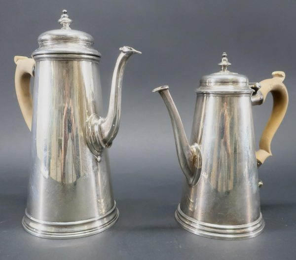 Two George III Style Sterling Silver Coffee Pots
