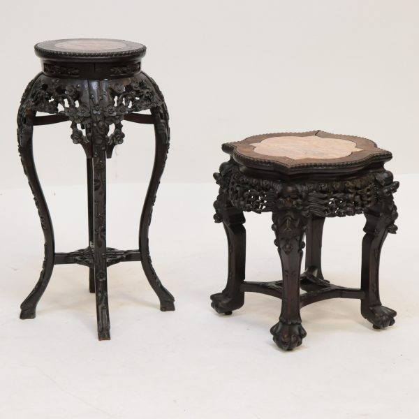 19th C. Carved Chinese Stands With Marble Inserts
