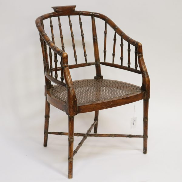 Regency Wood and Cane Armchair, Late 19th C