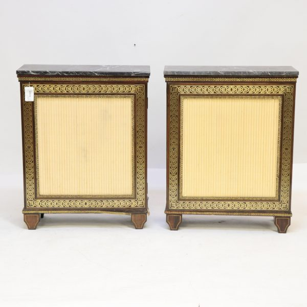 Pair Louis XIV Style Brass Inlaid Rosewood Cabinet