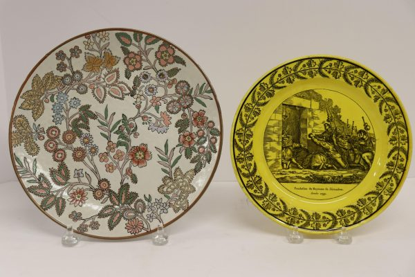 2 Plates: LL&T Yellow Transfer & Chinese Floral