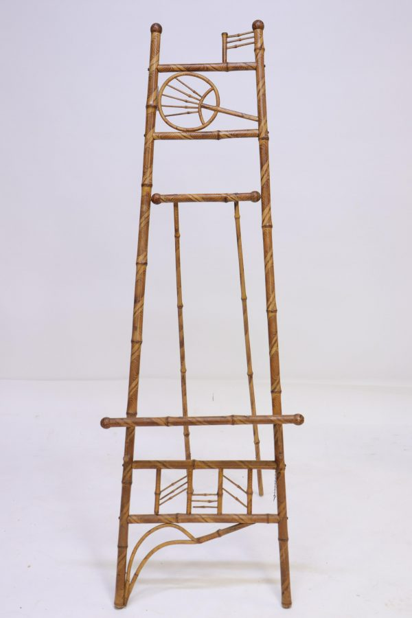 Vintage Bamboo Floor Easel With Faux Decoration