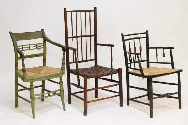 3 Antique Arm Chairs, American, 18th/19th C.