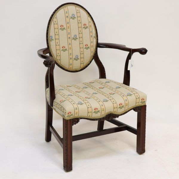 George III Style Mahogany Open Arm Chairs