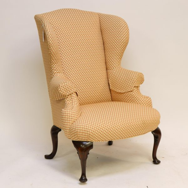 Queen Anne Style Mahogany Wing Chair