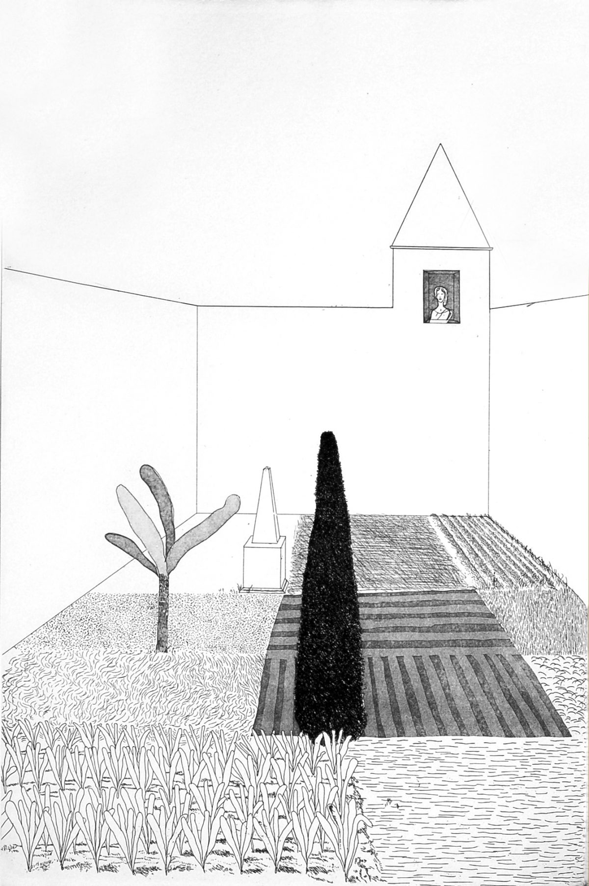 David Hockney - Rapunzel Growing in the Garden (from Six Fairy Tales from the Brothers Grimm)