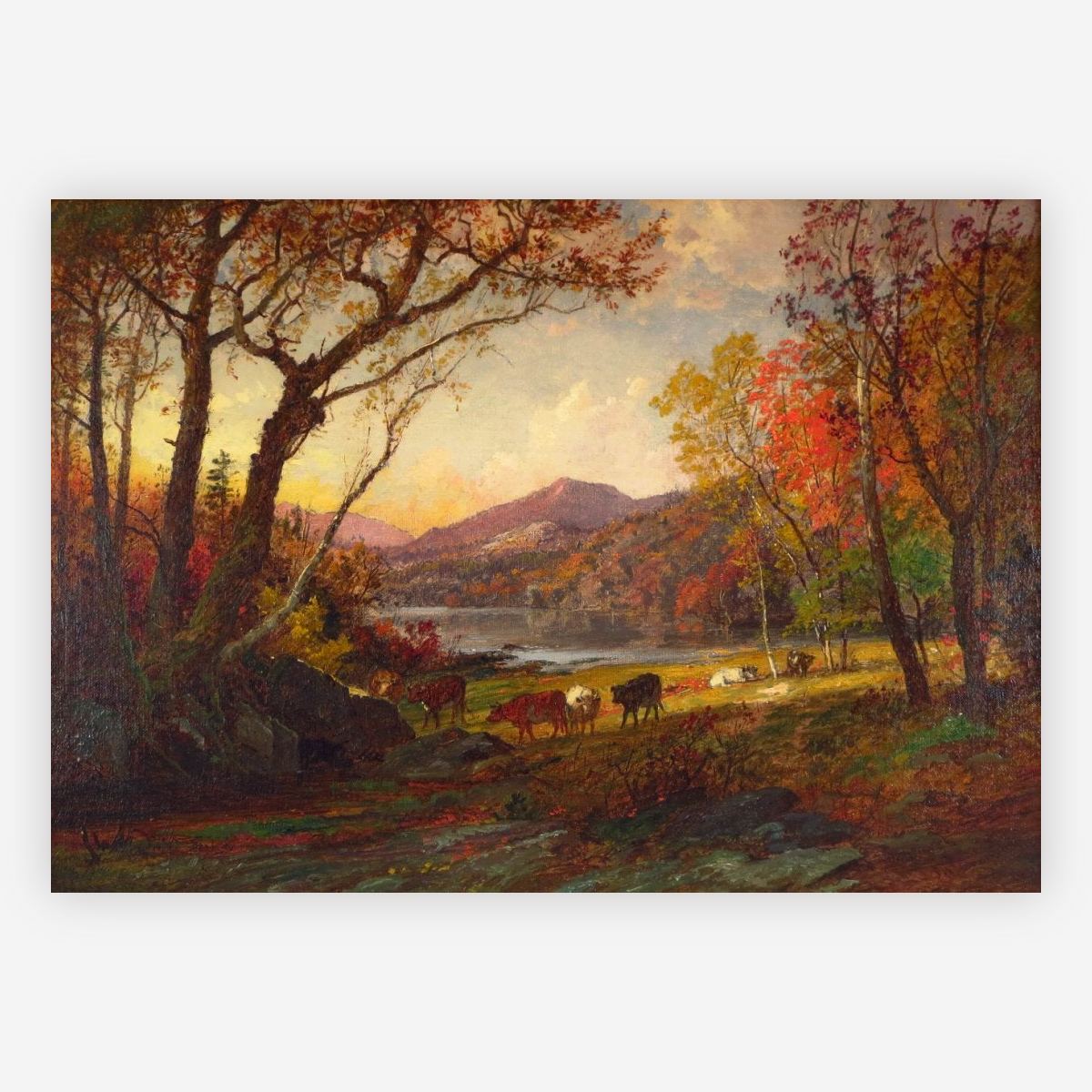Autumn Landscape with Lake, Mountains and Cattle